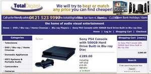 Brand New PS4 Console 289.99 at Total Digital