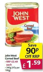 John West can corned beef 340g £1.59 Poundstretcher