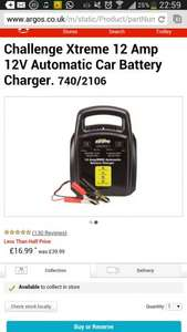 Challenge Xtreme 12 Amp 12V Automatic Car Battery Charger. 740/2106 was £39.99 now  £16.99 @ argos