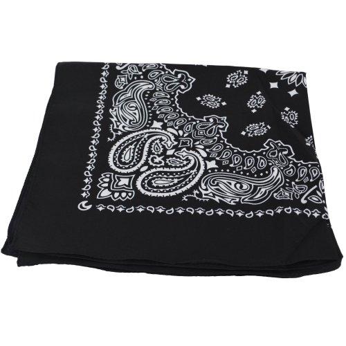 BLACK Bandana with WHITE square Paisley pattern ON BOTH SIDES 65p @ Amazon UK sold by ShukanFashions