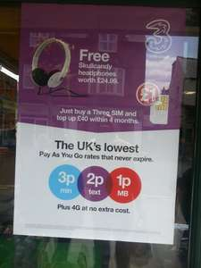 Free Skullcandy headphones when buying a Three SIM and top up £40 within 4 months £1 @ PoundLand