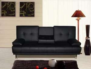New Manhattan Luxury 3 Seater Sofa Bed With Fold Down DrinksTable £114 @ ebay /  crazypricebeds