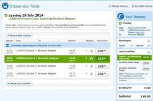 London to Belgium (and elsewhere in Europe) £19.00 throughout the Summer @ nationalexpress