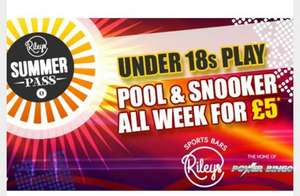 Under 18s Pool & Snooker 'Summer Pass' all week for £5 (2 hours per day) @ Rileys