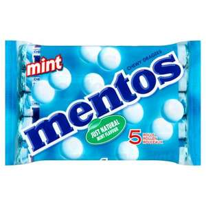 Mentos Mint & Fruit Flavour Chewy Dragees Rolls 5 x 38g - 95p @ Iceland