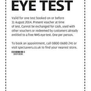 Free eyetest using voucher @ SpecSavers