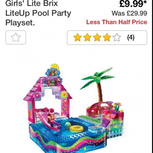 Lite brix pool party £9.99 @ Argos