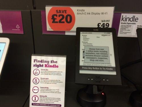 Kindle Basic 6' 2gb E Ink Display, WiFi @ Sainsbury's Kidlington - £49