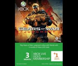 Xbox Live Gold 3-Month Membership Card With 1 Bonus Month: Gears Of War Judgment Branded £12.50 @ Tesco