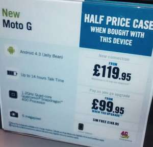 Motorola moto g version £99.95 at Carphone warehouse as pay as you go upgrade