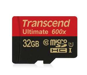 Transcend 32GB Ultimate 600x microSDHC Class 10 UHS-I with adapter £12.50 @ MyMemory