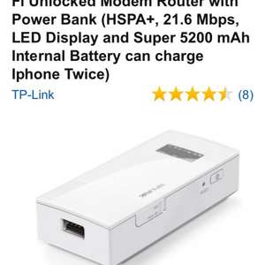 TP-Link M5360 High Speed 3G Wi-Fi Unlocked Modem Router with Power Bank (HSPA+, 21.6 Mbps, LED Display and Super 5200 mAh Internal Battery can charge Iphone Twice) £44.99 @ Amazon