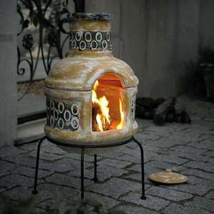 La Hacienda Circles Clay Chiminea with Grill  Product Details £79.99 dunelm