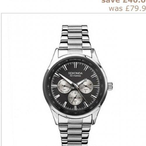 Sekonda Men's Black Dial Stainless Steel Bracelet Watch @ H SAMUEL Was £79.99 now £39.99 50% off plus possible Cash Back