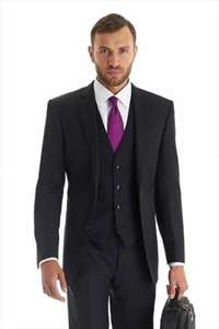 Moss Bros. Black Mix and Match Rib Tailored Fit Suit £26 Free Delivery (Possible £5.20 Quidco)