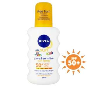 Nivea Sun Kids Pure & Sensitive sun cream spray SPF 50+ 200ml - £3.75 @ Ocado