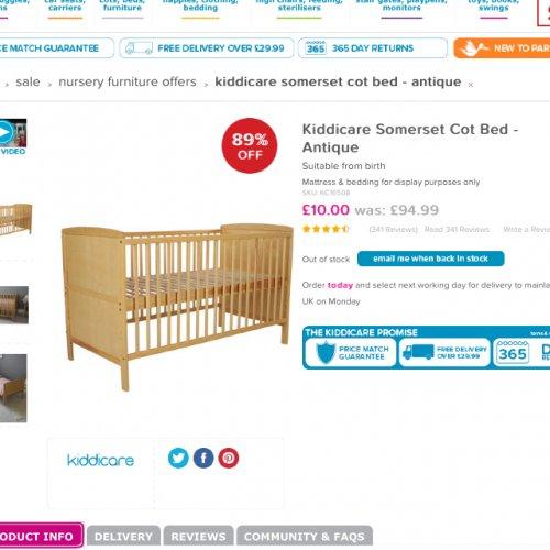 Kiddicare Somerset cot bed £10
