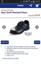 Scuff resistant school shoes. £6.99 @ Aldi from Thursday.