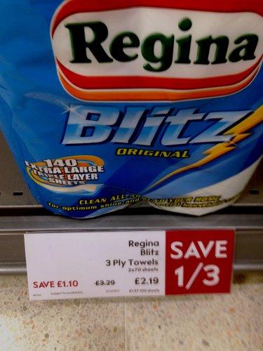 Regina Blitz Kitchen Towel 2 pack 70 Sheets  £2.19 @ Waitrose