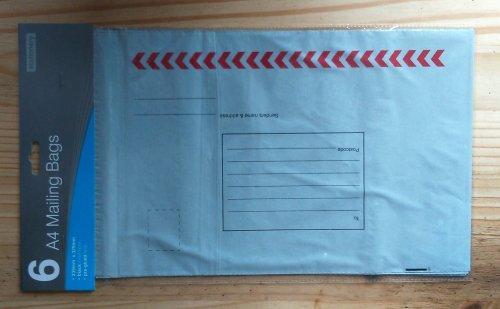 6 pk A4 plastic mailing bags 59p home bargains