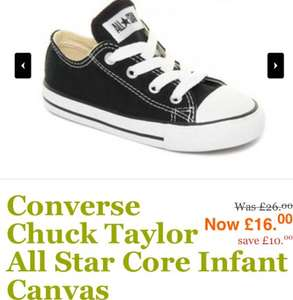 Infant/junior converse trainers reduced to £15 instore £16 online @ Jones the Bootmaker