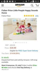 Fisher Price little people sound house - £20 @ Amazon