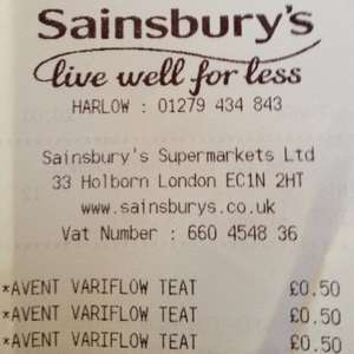Avent Variflow Teat 50p Sainsburys instore