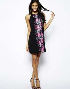 ASOS £16.00 Paper Dolls Shift Dress with Floral Print Panel Free delivery as its £16