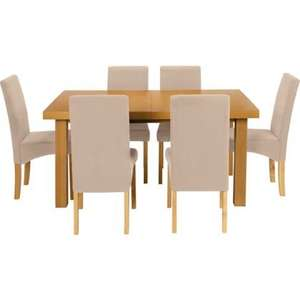 Cosgrove Extendable Oak Dining Table and 6 Cream Chairs (with code) now 328.91 delivered + 800 nectar points @ homebase