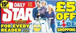 £5 off £40 spend at Lidl with Daily Star or Daily Express, 40p