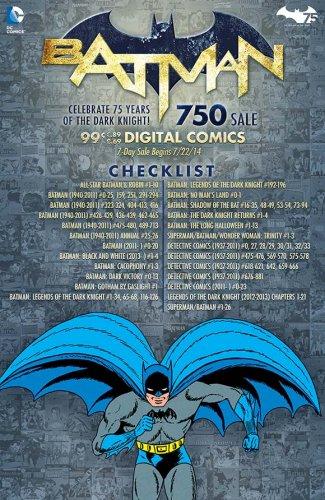 Batman 75th Anniversary $0.99 digital sale on 750 titles (59p) @ DC Comics