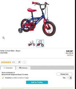 """Half price £49.99 delivered Huffy boys bike 12"""" + half price  helmet when bought with this bike @ Argos"""