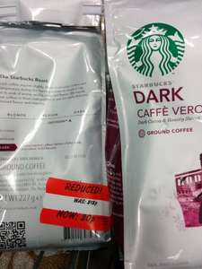 Starbucks ground coffee, Verona dark blend -20p due 227g at asda!