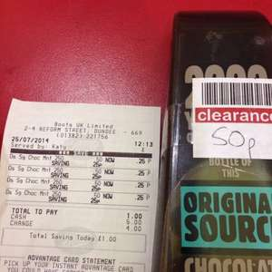 Clearance original source choc mint marked at 50p scanning at 25p in boots Dundee town centre