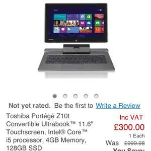 Toshiba Portégé Z10t £300.00 at Staples. Up to £1000 everywhere else