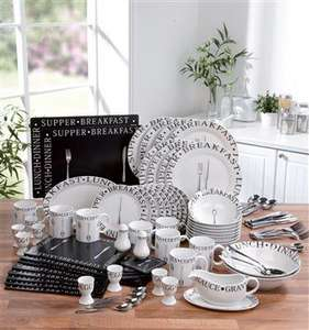 100 Piece Vintage Script Dinner Service and Cutlery set £47.49 at 24Studio