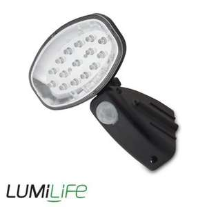 15-LED solar floodlight (80 lumens).  5-year guarantee.  £13.60 delivered from LEDHut with free gifts and 20% Quidco