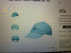 WOMENS RALPH LAUREN BASEBALL CAP @ CHOICE £12.50 + £3.99 DELIVERY