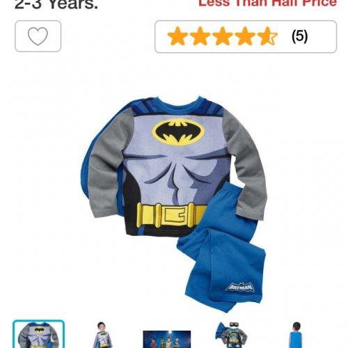 Batman boys blue novelty pyjamas 2-3 years was £8.99 NOW ONLY 99p @ Argos