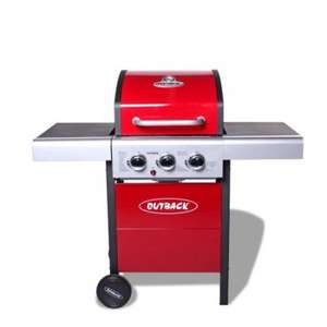 Outback Meteor Hooded 3 Burner Gas BBQ Red Inc Gas Regulator *2014 Model £189.99 @ Flaming Barbecues