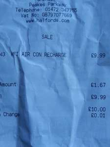 Air Conditioning Recharge £9.99 at Halfords