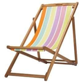 Bright Stripe Wooden Deckchair was £30, now £7.50 @ Tesco Direct.