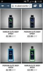 Abercrombie & Fitch all body care down from £17 to £2.99 Body spray & body wash with free delivery