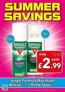 Jungle Formula Maximum Aerosol 125ml/pump spray 75ml insect repellent £2.99 @ Savers