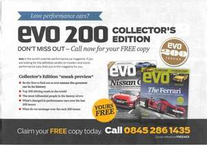 Free Collectors Edition (Issue 200) of EVO Magazine RRP £4.50. No further subscription after free issue.