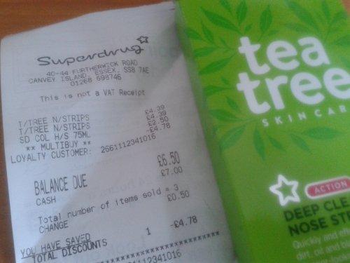 Tea Tree Deep Cleansing Nose Strips 2 for £4.00 @ Superdrug  (originally £4.39 each)