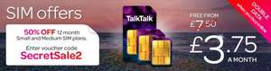 Talk Talk 50% SIM discount £3.75 - 300min/600mb, £5 - 500min/1GB ( + possibly £35 Quidco)
