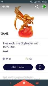Free golden Flameslinger with any skylander purchase From £4.49 with O2 priority @ game