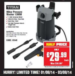 Half price Titan pressure washer £29.99 @ Screwfix