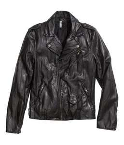 H&M Mens Leather Look Mens Black Biker Jacket down from 39.99 to £12.00 with free delivery